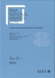 2019 RIBA Regional Award- Sartfell